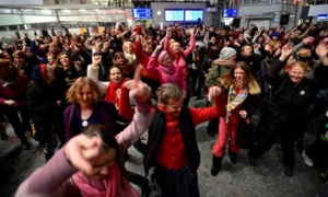 A crowd dancing for One Billion Rising in Poland...