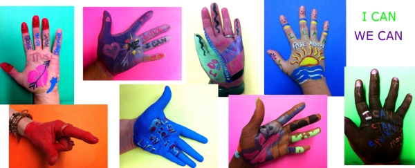 "Hands can carry a lot of meanings - especially for survivors of abuse.  Hands can be used to hurt.  But hands also can be used to hug a child, build a bookshelf, create a painting, reach for a flower, hold another's hand in trust.  Part of this workshop, which involves painting one's own hand, is the reclaiming of the hand as something positive.  Our hands are how we reach out into the world and change it - and ourselves - for the better.  What we 'can' do is reflected in our hands.  That is why we ask our participants to express their ""I Can"" on their own hands."