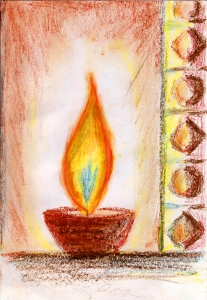 A Candle Against the Dark - Oil Pastel on Cold Press Paper